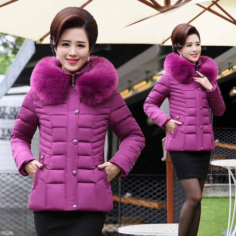 KUYOMENS  Winter Jacket Women Large Fur Collar Down Wadded Jacket Female Cotton-Padded Jackets Thickening Women Winter Coat women winter down jacket coat wadded jacket middle age women thickening outerwear female down coat vestidos
