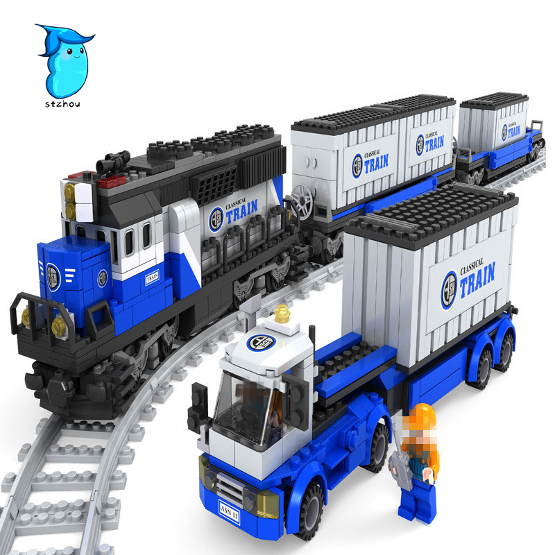 StZhou 1008pcs city series The Maersk Train Model Building Blocks Brick set Compatible  Classic car-styling Toys for children lepin 21006 compatible builder the maersk train 10219 building blocks policeman toys for children