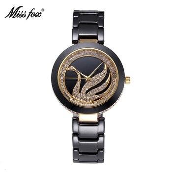 MISSFOX Miss Fox Black White Ceramic Swan Quartz Women Watch Luxury Brand Rhinestone Watches Gold Diamond Wristwatch Genuine New