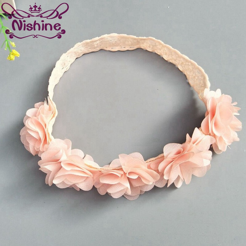 Nishine New Chiffon Flower Headband Bandage Lace Baby Girls Hairpiece Children Hair Accessory Party Christmas Gift naturalwell flower headband bandage lace hairband girls hairpiece child hair accessory baby hairband newborn shower gift hb090