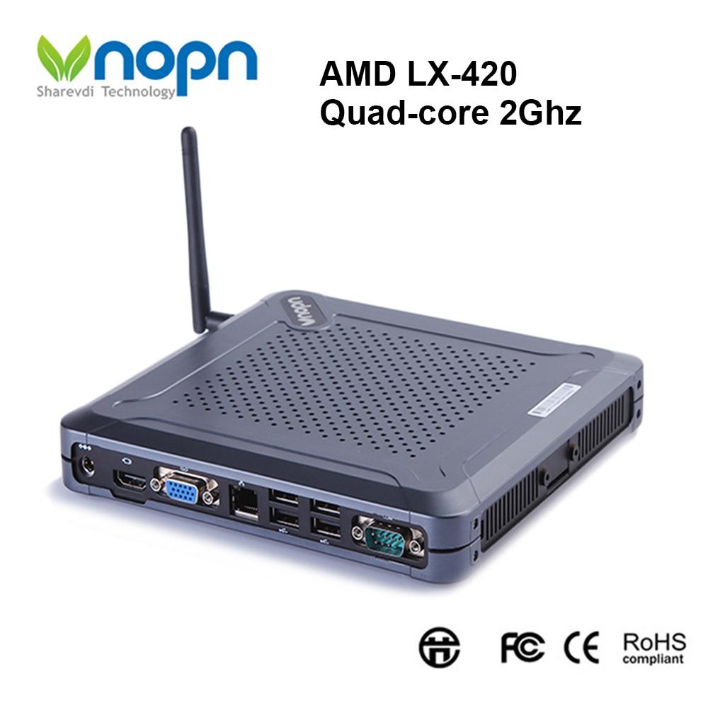 Mini PC AMD LX-420 Quad-core 2.Ghz Windows10 Pro licence OEM ordinateur de jeu ventilateur Barebone Nettops HDMI VGA WiFi RAM 8G SSD 256G