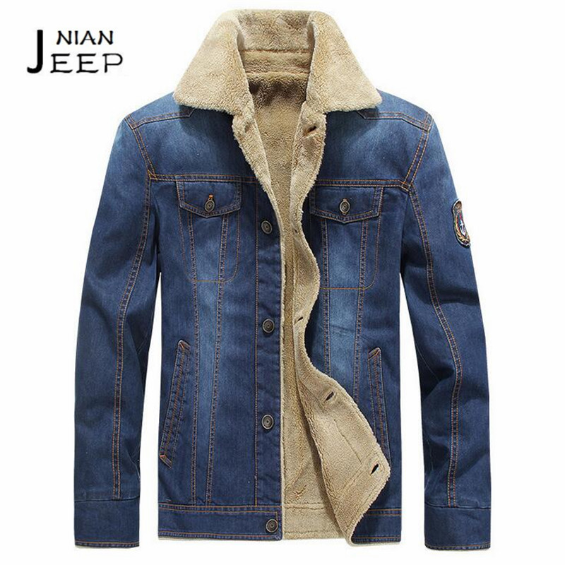 NIAN AFS JEEP Cashmere Inner Winter 2017 New Style Denim Coat,Big wool turn Down Collar Cargo Denim Parkas Coats,Pockets out coa