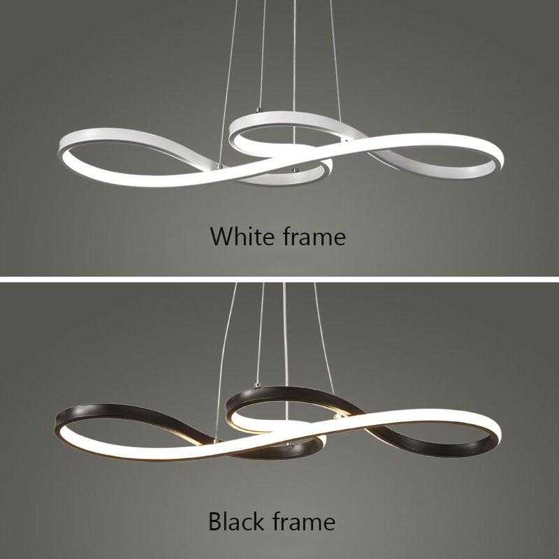 Lampe de pendentif LED moderne noir/blanc nordique suspension Note créative suspension pour barre Table cuisine île salle à manger - 3