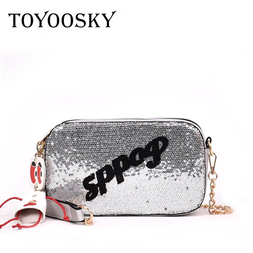 TOYOOSKY 2018 Fashion Women Sequins Messenger Bag Quality Leather Womens Flap Letter Print Chain Strap Female Shoulder Bag