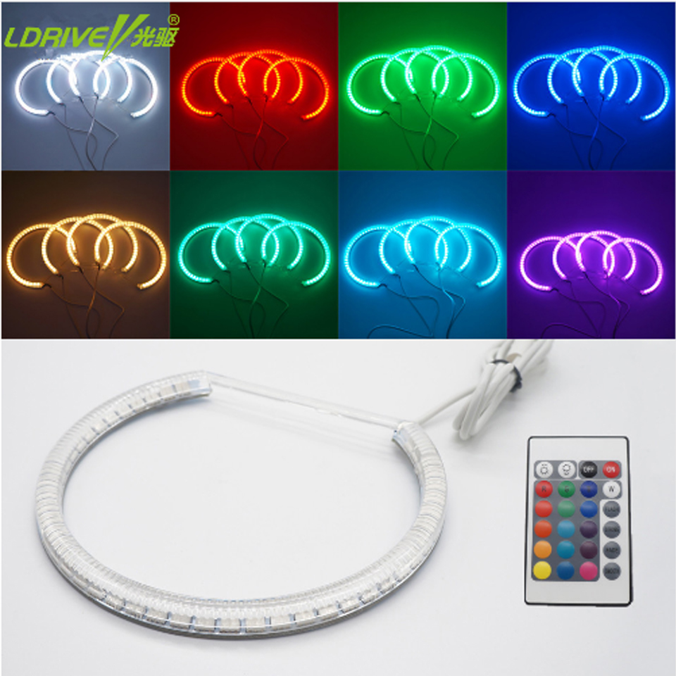4x131mm White Car RGB Halo Rings Angel Eyes Headlights for BMW E46,E36,E39,E38 Light Kits with Infrared Remote Control 16 Colors 4x 120mm rgb multi color wifi remote control halo rings angel eyes led headlights for bmw e32 e34 e30 12v light kits