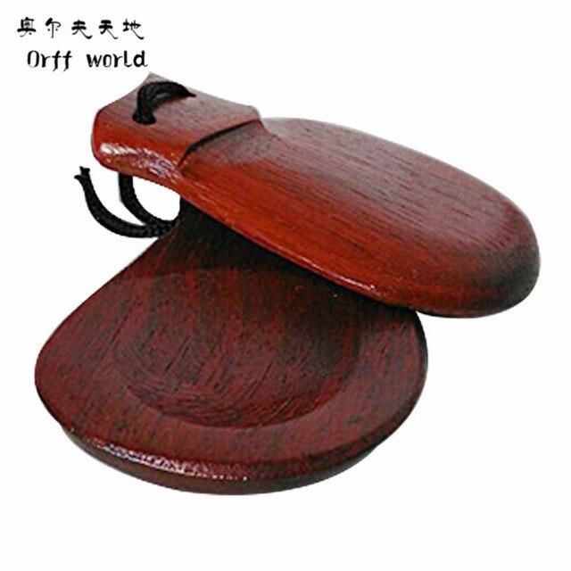 Orff worldA Pair Wooden Castanets Wood Percussion Flamenco Musical Instrument Education Child's Intellectual Development Listen
