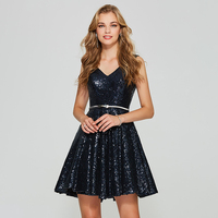 Tanpell Sequins Cocktail Dress Navy Blue Sleeveless Above Knee A Line Gown Women Homecoming Prom Customed