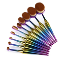 10 unids Sirena Pinceles de Maquillaje Set cepillo de Dientes Forma Ovalada Maquillaje Herramienta Pincel Belleza Fibra Kits Rainbow Color Rosegold Profesional