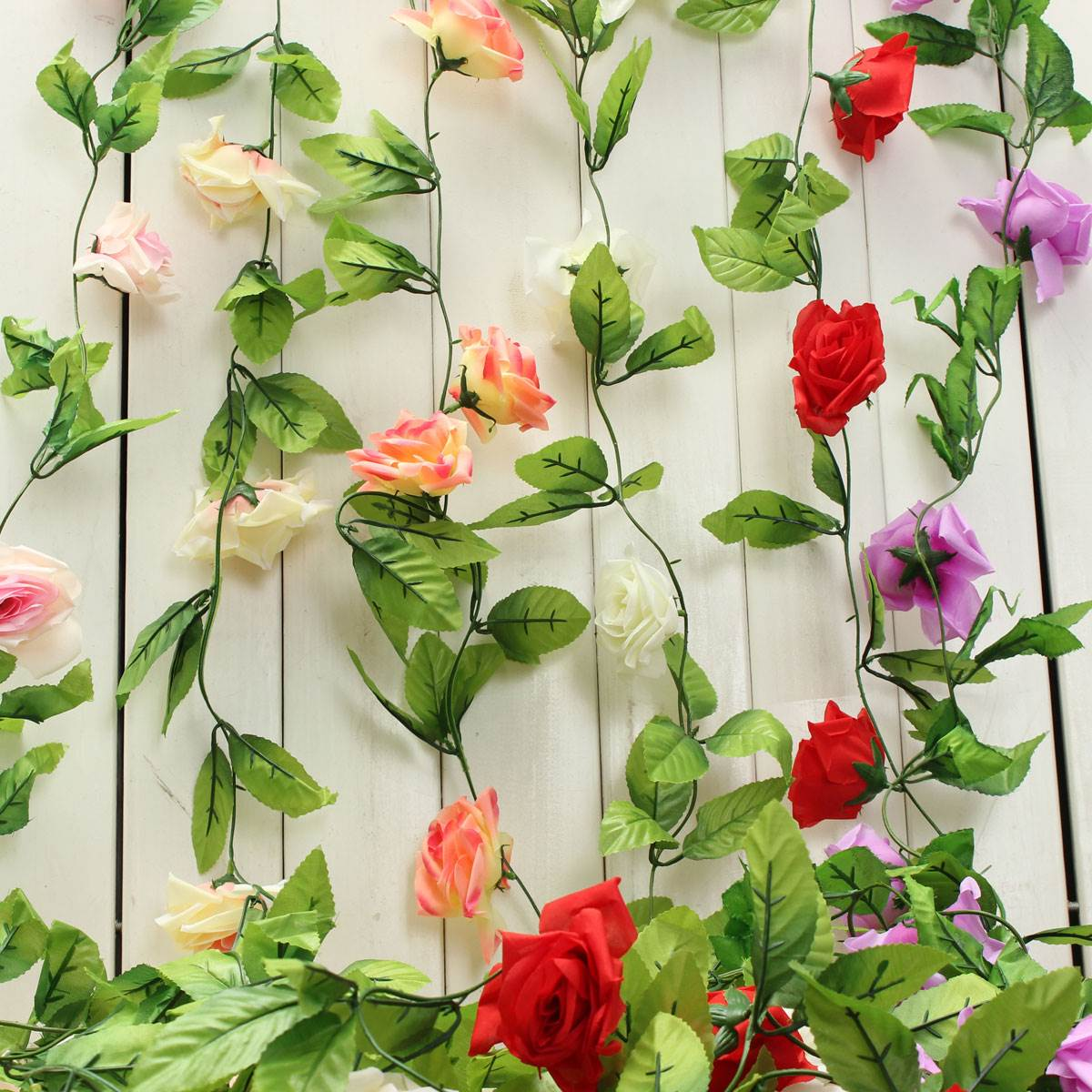 Plastic Silk Fabric Rose Flower 2.4m Ivy Vine Hanging Garland Wedding Home  Decor Festive Party Supplies Spot Arrangement