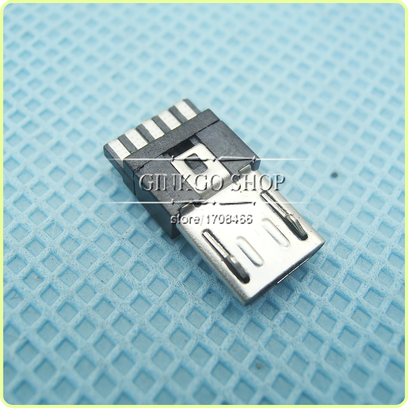 1000pcs lot Micro USB 5P plug Soldering wire Type Micro USB 5Pin Connector Tail Charging Male