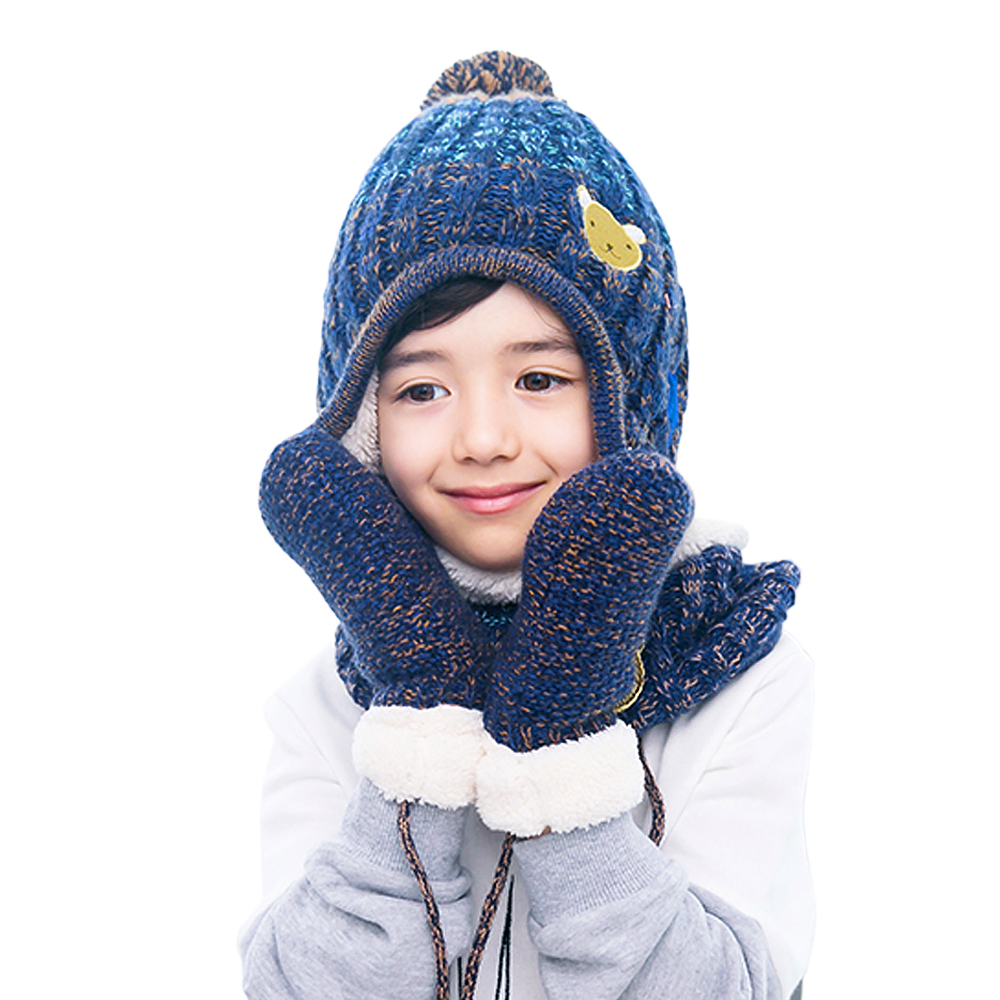 Children Winter Hat Scarf Gloves Set for Boys and Girls Warm Fleece Cap Neck Warmer Mittens Set Autumn Winter Kid Accessory 3pcs 2 piece set hat and scarf set baby winter cap rabbit knit beanie bonnet warm hats for children neck warmer photography props
