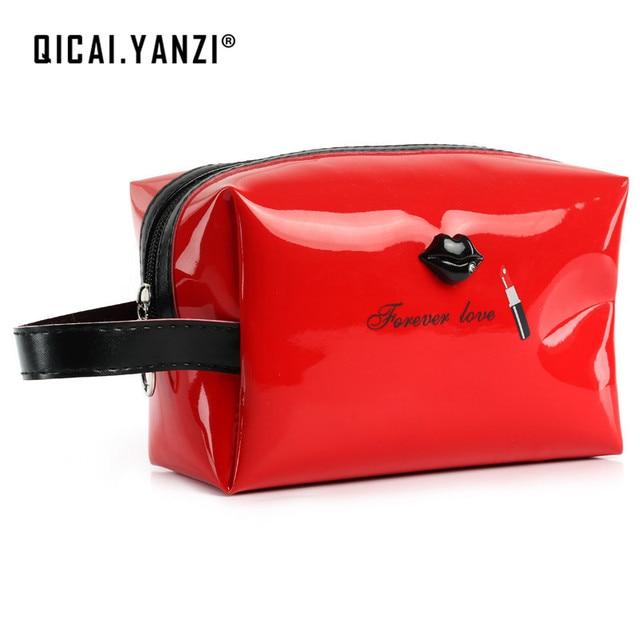 QICAI.YANZI 2017 Women Female Travel Portable PU Case Bright Color Cosmetic Bag Sweet Packing Makeup Case Multifunction P496