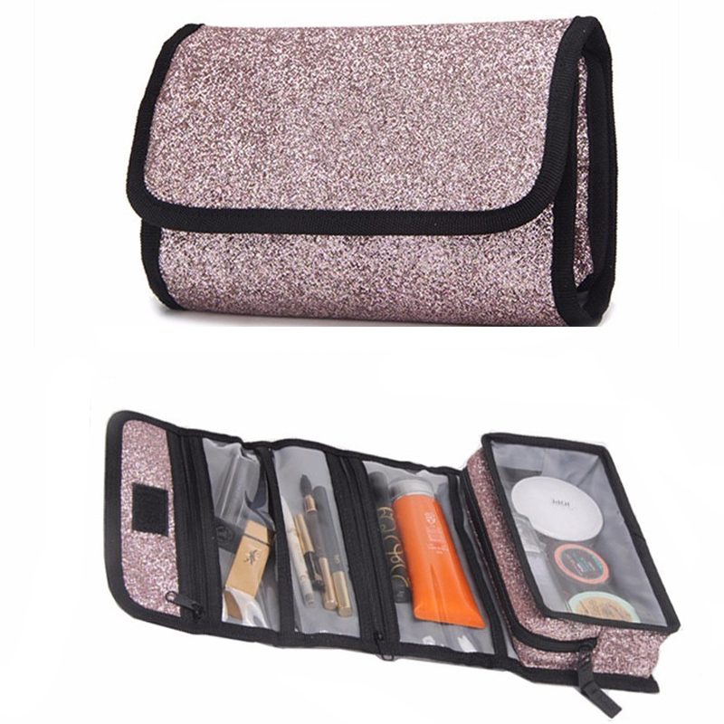 Neceser New Women Cosmetic Bags Sequins Handbag Makeup Bag Organizer Waterproof Folding Travel Toiletries Cosmetics Storage