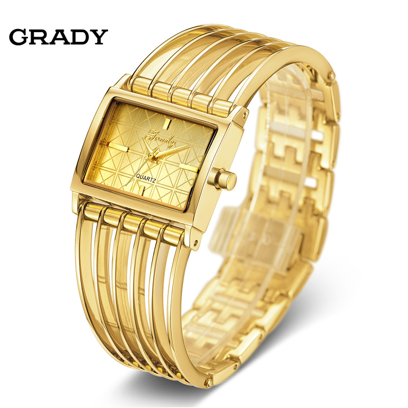 все цены на Gold Ladies Watch Women Watches Women Fashion Luxury Watch Women Wristwatches Quartz Watch Free Shipping