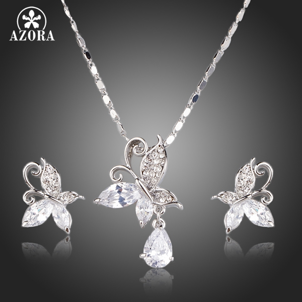 AZORA Cute Butterfly Clear Cubic Zirconia Tear Drop Pendant Necklace and Stud Earrings Jewelry Sets TG0141 concise and cute bronze star pendant necklace