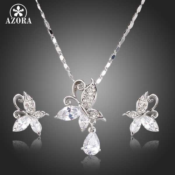 AZORA mignon papillon clair cubique zircone larme pendentif collier et boucles d'oreilles bijoux ensembles TG0141