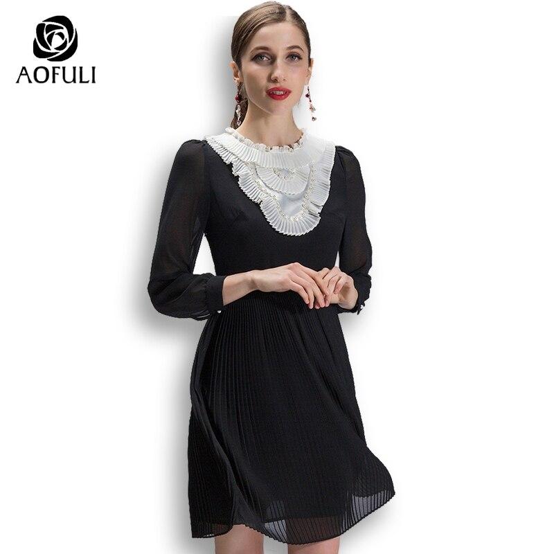 Kadın Giyim'ten Elbiseler'de S ~ 3XL 4XL 5XL artı boyutu kadın giyim marka bahar pilili elbise siyah beyaz Vintage uzun kollu siyah elbise AOFULI 9029'da  Grup 1