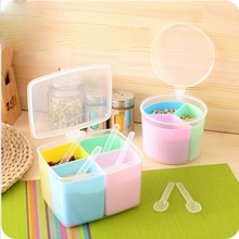 Three or four Grid Storage Seasoning Boxes Kitchen Condiment Box Spices Detachable Container Canister