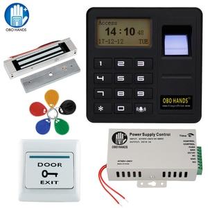 Image 1 - Obo mãos rfid biométrico de impressão digital sistema controle acesso kit magnético elétrico/parafuso/greve fechadura para porta + fonte alimentação conjunto completo
