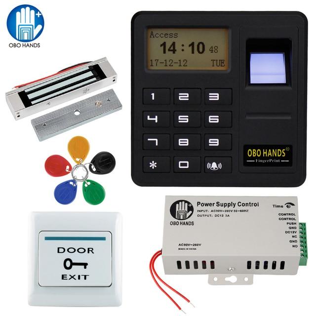 Obo mãos rfid biométrico de impressão digital sistema controle acesso kit magnético elétrico/parafuso/greve fechadura para porta + fonte alimentação conjunto completo
