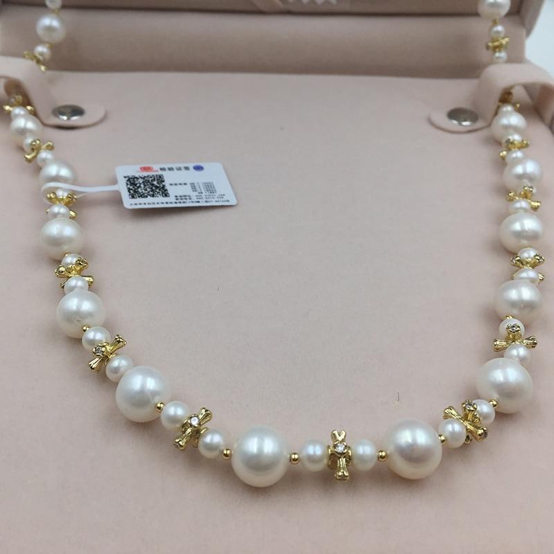 Image 2 - Collar de cadena de perlas de Sinya, collar largo con cordones de perlas naturales redondas para mujer, chica, amante de las madres, 85cm de longitud, diámetro 10 11mmnecklaces for womennecklace roundnecklace long -