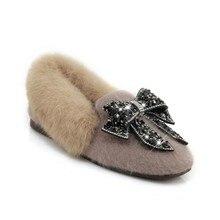SWYIVY 30 44 Woman Fur Loafers Shoes Rhinestone Bow 2018 Auutmn Winter Velvet Warm Female Causal Comfortable Snowboots
