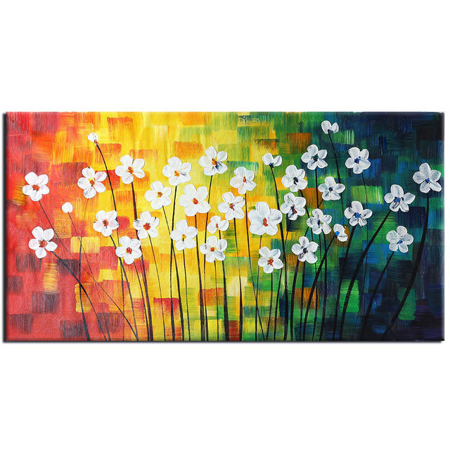 Hand painted Oil Paintings Modern Abstract Spring Flowers Wall Art ...