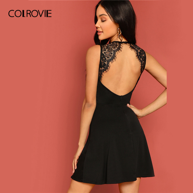 e15ff96354a COLROVIE Black Solid Backless Skater Sexy Lace Dress Women Clothes 2019  Sleeveless High Waist A Line Club Mini Party Dress