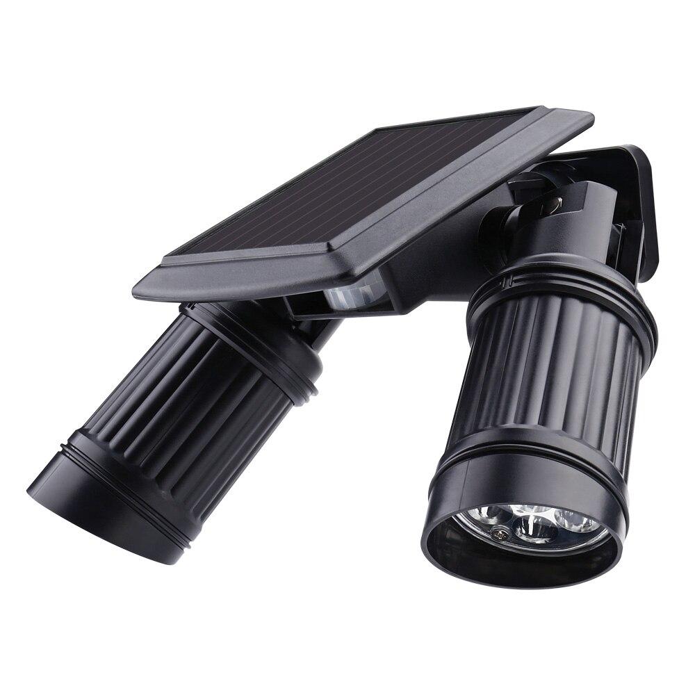 Security Rotatable Waterproof <font><b>LED</b></font> Solar Light Outdoor 7*2 <font><b>LED</b></font> Solar Power Dual Head PIR <font><b>Motion</b></font> Sensor Garden Yard Wall Spotlight