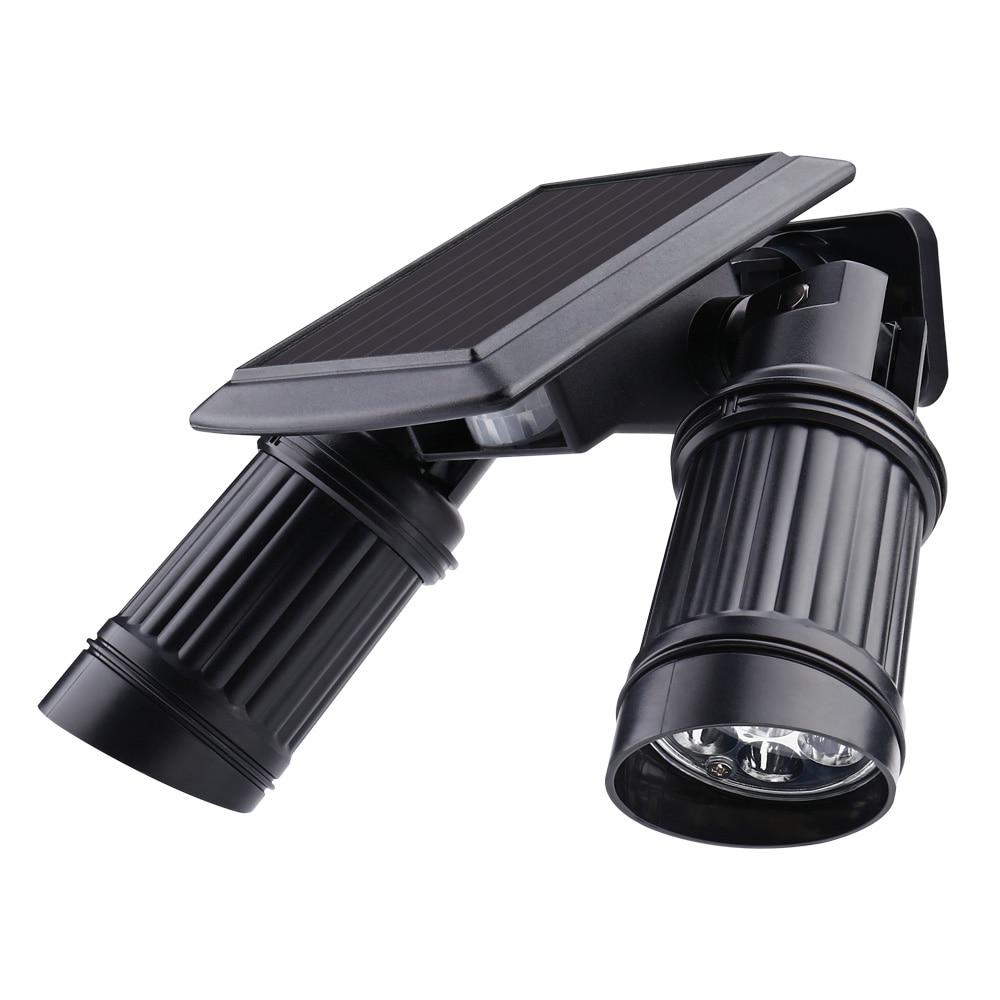 Security Rotatable Waterproof <font><b>LED</b></font> Solar <font><b>Light</b></font> <font><b>Outdoor</b></font> 7*2 <font><b>LED</b></font> Solar Power Dual Head PIR Motion Sensor Garden Yard Wall Spotlight