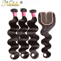 7A Brazilian Virgin Hair With Closure 4PCS Middle Part Lace Closure With Bundles Brazilian Body Wave With Closure Hair Bundles