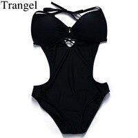 Trangel Sexy One Piece Swimsuit Backless Swimwear Women Push Up Swimsuit Women Solid Monokini Halter One