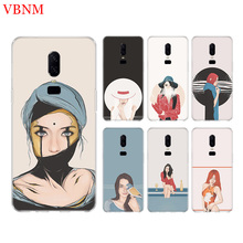 Girl Illustration New Phone Back Case For OnePlus 7 Pro 6 6T 5 5T 3 3T 7Pro 1+7 Art Gift Patterned Customized Cases Cover Coque