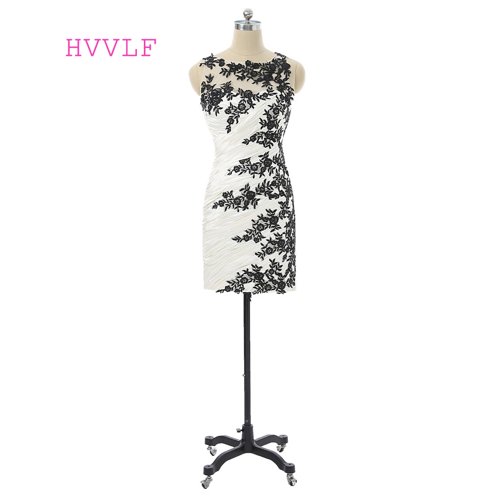 Black 2019 Elegant   Cocktail     Dresses   Sheath Scoop Chiffon Appliques Lace Short Mini Backless Homecoming   Dresses