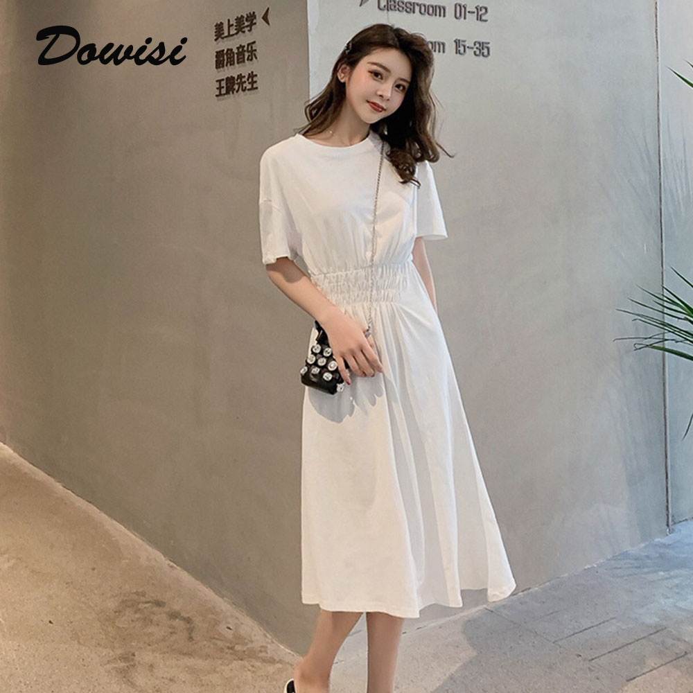 Dowisi Summer Solid Dress Short Sleeve Long Dresses for Femme New Causal Vestidos De Verano Elegent Women Slim Robe Clothes