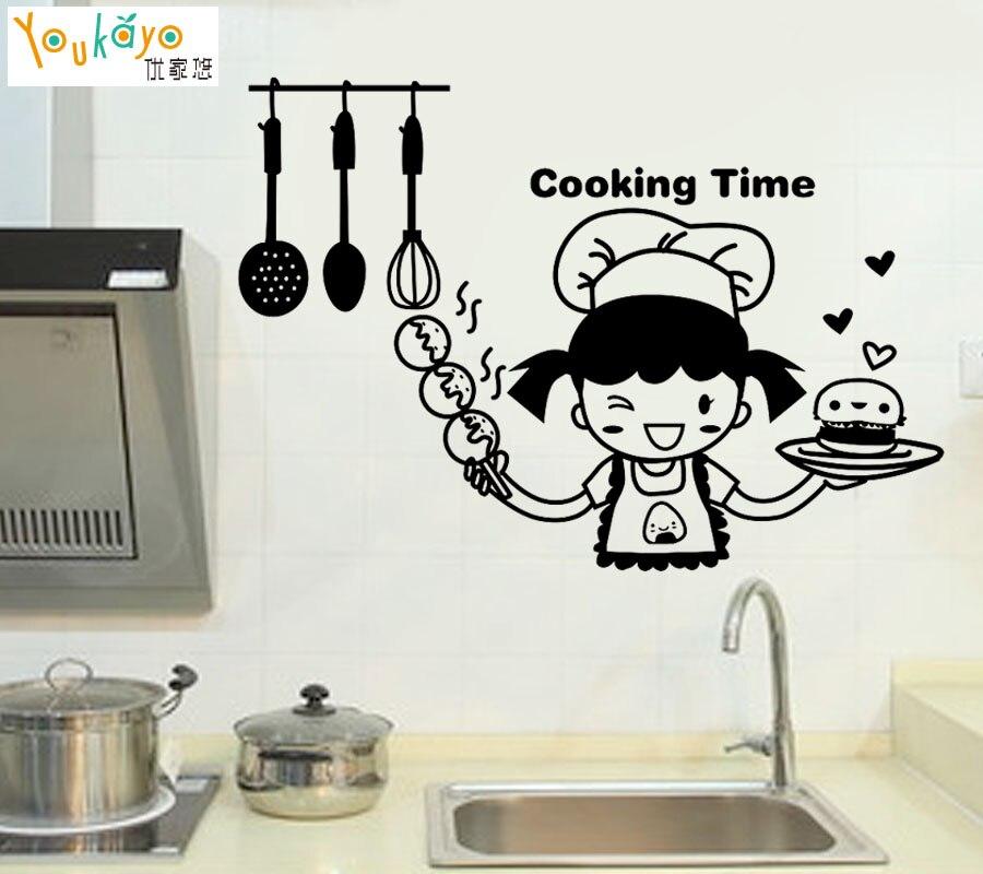 US $8.19 |Chef felice in Tempo di Cottura Cute Girl Wall Sticker per Cucina  Decorazione Sveglio Della Decalcomania Del Vinile-in Adesivi murali da ...
