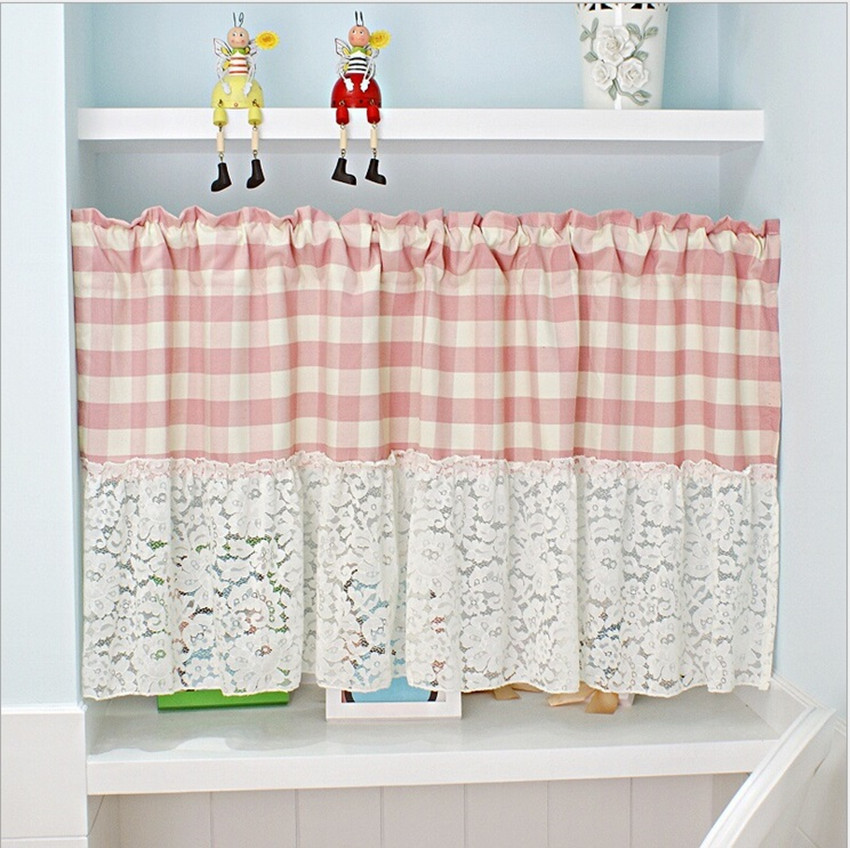 1 Panel Pink/White Plaid Cotton Splice Lace Coffee Curtain