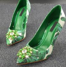 Shinny Crystal Elegant Banana Leaf Print Shoes Women Fashion Designer High Heel Pointed Toe Thin Slip-on Dress Pumps Real Photo