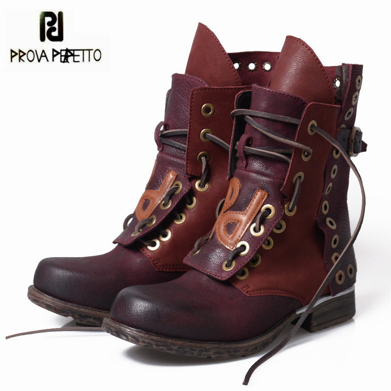 Prova Perfetto Retro Ankle Boots for Women Casual Flat Martin Boots Genuine Leather Lace Up Rubber Short Botas Mujer prova perfetto new hot women martin boots autumn round toe flat platform shoes woman lace up female genuine leather ankle boots