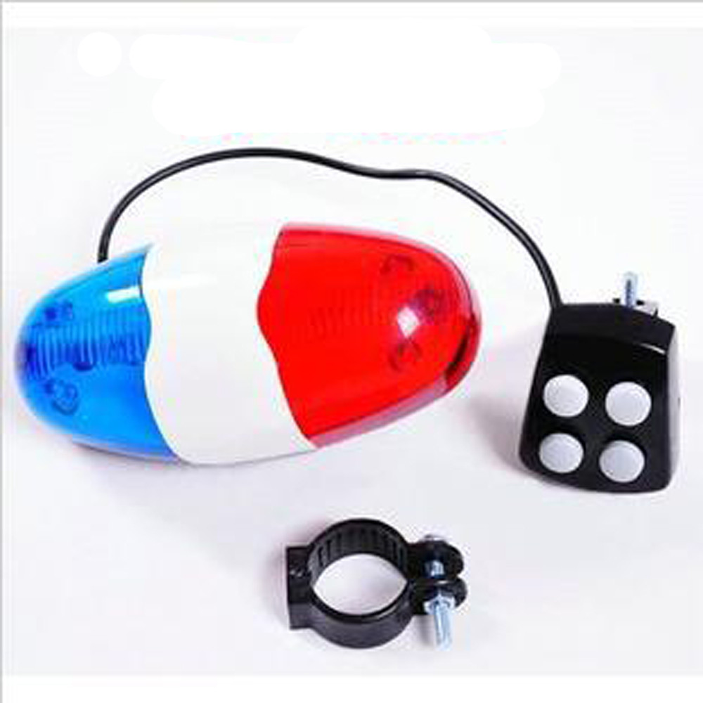 Bicycle Accessories For A Bike Flashlight Headlamp 6 LED 4 Sounds Horn Bell Ring Police Car Light Trumpet For Bike Bicycle