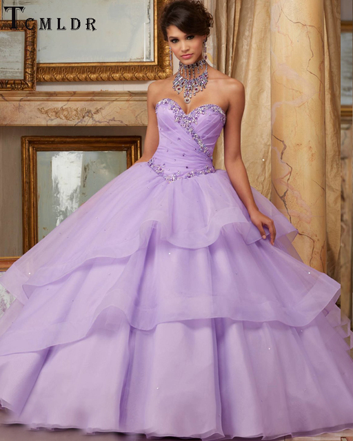 0cbfd789835 Tcmldr Elegant Ball Gown Purple Quinceanera Dresses 2017 Luxury Beaded  Sweetheart Formal Gowns Organza Debutante Dress