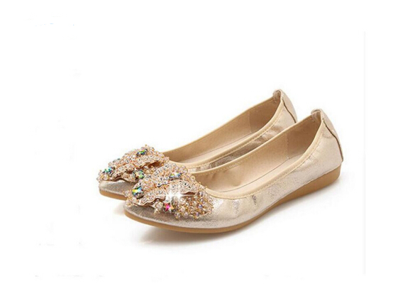 2018Women Crystal Ballet Flats Spring Solid Gold Bling Cloth Pointed Toe Slip-On Flat Shoes Woman Soft bottom Casual Shoes 34-43 summer slip ons 45 46 9 women shoes for dancing pointed toe flats ballet ladies loafers soft sole low top gold silver black pink