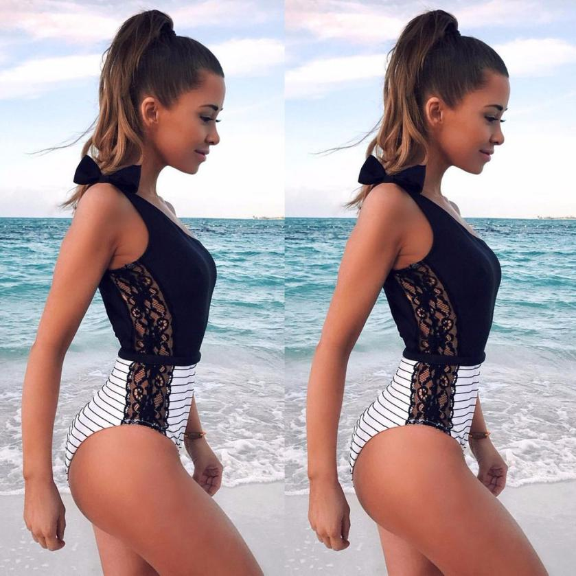 Fancinating Women Girl One Shoulder Striped Lace Sexy Padded Bathing Bodysuit Swimwear Attractive Women's Swimsuits Bikinis