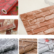 45cm*10m Rustic Vintage 3D Faux Brick Wallpaper Roll Vinyl PVC Retro Industrial Loft Wall Paper Red Black Grey Yellow Washable