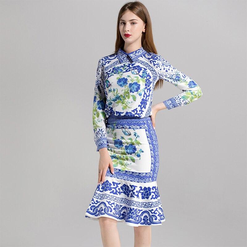 Turn down Sirène Bleu Hot Longueur À Genou Jupes De 2018 Ensembles Chemises Col Automne Costumes Haute Mode D'impression Femmes Qualité TvnzqwPIx