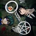 Fashion Inverse Pentagram Pendant Key Chains Black Deacon Key Rings Kuroshitsuji Hunter Van Helsing Hell Satan Keyrings YSK049