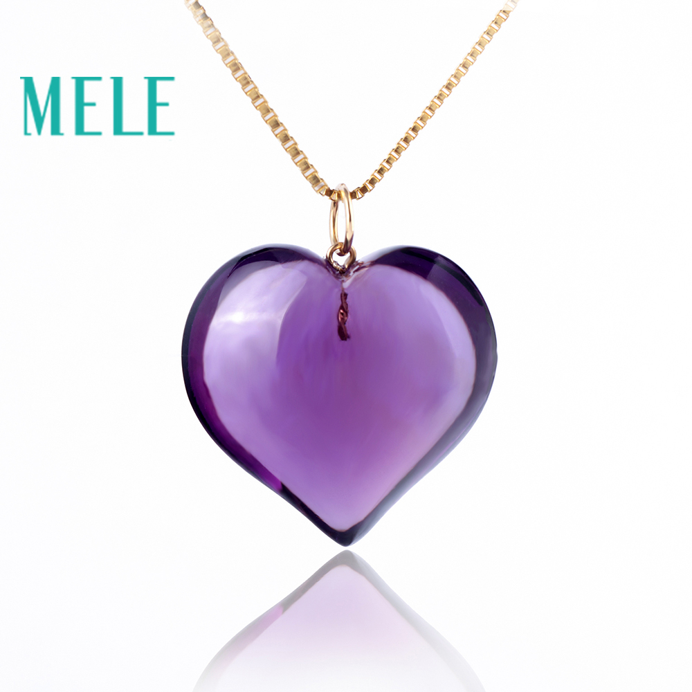 Natural amethyst real 18K gold heart pendant for women and man,fashion and simple fine jewelry,best gift for lovers yoursfs 18k rose white gold plated letter best mum heart necklace chain best mother s day gift