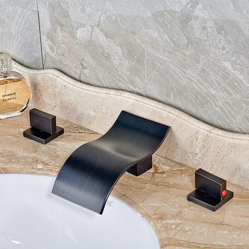 Elegant Oil Rubbed Bronze Bathroom Waterfall Vanity Sink Mixer Tap Tub Faucet wholesale and retail modern oil rubbed bronze bathroom basin faucet teapot vanity sink mixer tap countertop mixer tap