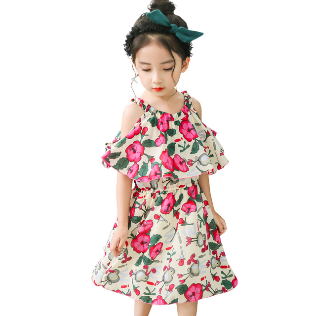 eea3bd6b89c 2017 New Design Baby Girls Summer Dresses Flower Printed Off Shoulder  School Dresses Kid Children Fashion Princess Chiffon Dress