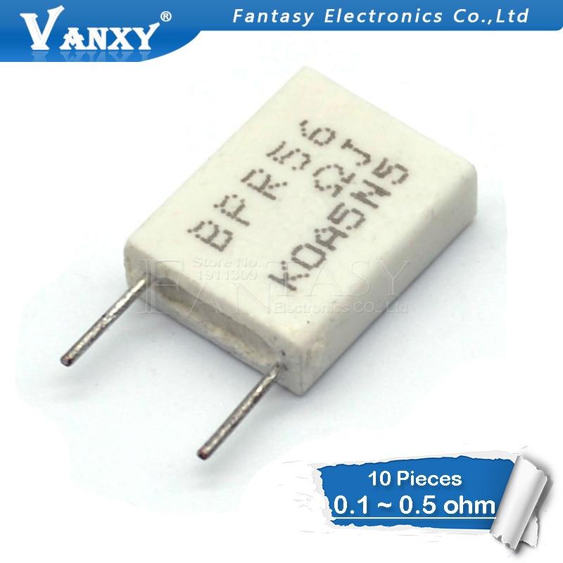 10pcs BPR56 5W 0.001 0.1 0.15 0.22 0.25 0.33 0.5 Ohm Non-inductive Ceramic Cement Resistor 0.1R 0.15R 0.22R 0.25R 0.33R 0.5R